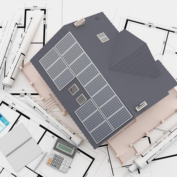 Projekt 2D paneli słonecznych nadachu domu
